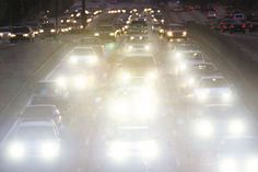 Light, Glare The head lights to the car look as though they are gleaming since they are all turn on at the same time.