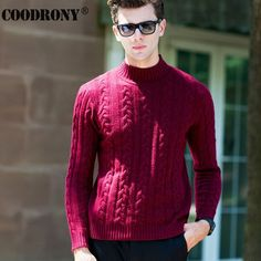High Quality Winter Thick Warm Christmas Sweater Men Pure Merino Wool Pullover Men Fashion Turtleneck Cashmere Knitwear Men 6332