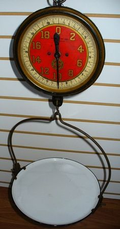 ANTIQUE HANGING SCALE PORCELAIN TRAY JOHN CHATILLON TRADE DELI STORE PRODUCE OLD