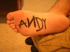 "Clever (from Toy Story.  Woody had ""Andy"" written in permanent marker on the bottom of his foot)"