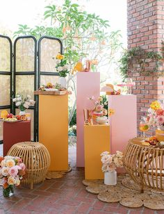 California Chic Soiree Art Installation for the deconstructive bar and cheese display. Orange Party, Orange Wedding, Green Wedding Shoes, Wedding Colors, Summer Wedding Decorations, Reception Decorations, Wedding Ideas, Quirky Wedding Invitations, Wedding Dress Boutiques