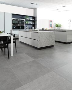 Concrete Look Tile Design Ideas, Pictures, Remodel and Decor Living Room Grey, Living Room Kitchen, Rugs In Living Room, New Kitchen, Kitchen Island, Living Room Restaurant, Kitchen Ideas, Kitchen Decor, Grey Floor Tiles