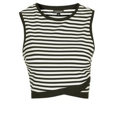 TOPSHOP Stripe Shell Top ($24) ❤ liked on Polyvore featuring tops, crop tops, shirts, crop top, topshop, wrap crop top, stripe top and white tops