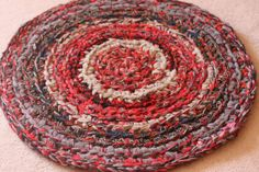 Greys and Reds Multicolored Round Rag Rug Recycled by EsteraP, $44.00