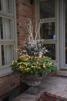 The Best Simple Winter Outdoor Decorations 28 Best Outdoor Christmas Decorations, Christmas Urns, Christmas Planters, Xmas Decorations, Christmas Home, Christmas Lights, Outdoor Decorations, Magical Christmas, Winter Container Gardening