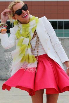 atlantic-pacific, yellow striped scarf, pink skirt, blazer