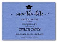 Graduation save the date cards graduation save the date shimmery grad hat on blue save the date cards grad hatgraduation hatsgraduation invitationsgraduation filmwisefo
