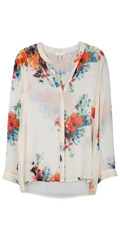 JOIE Devitri Blouse New Moon | Collarless Silk Shirt