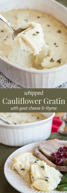 """Whipped Cauliflower Gratin with Goat Cheese and Thyme recipe. A light and healthy side dish but still rich and creamy and vegetable filled. Gluten free and low carb too!."" (Low Carb Vegetables Atkins)"