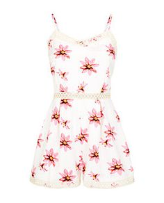 Parisian Cream Floral Print Diamond Lace Trim Playsuit  | New Look