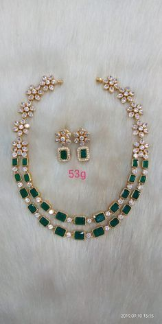 w) Very Good Cut – Fine Jewelry & Collectibles Indian Jewelry Sets, Gold Jewelry Simple, Gold Jewellery Design, Emerald Jewelry, Necklace Designs, Wedding Jewelry, Fashion Jewelry, Green Necklace, Emeralds