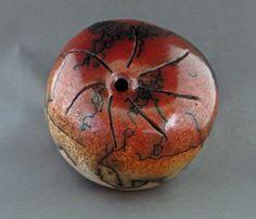 Ceramic red and tan horsehair raku seed pot by SaguaroPottery