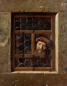 Samuel van Hoogstraten - Alter Mann im Fenster, 1653 Kunsthistorisches Museum Wien