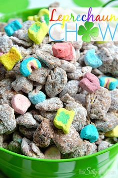 Leprechaun Chow, a fun twist on the classic muddy buddies for St. Patrick's Day!