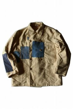 German vintage patched moleskine work jacket/lt.yellow moleskin/Germany/patchwork/handwork/sashiko/255