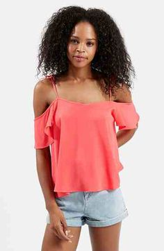 http://shop.nordstrom.com/S/4045795 Topshop Tie Strap Cold Shoulder Top  - Sent from the Nordstrom app on my iPhone (Get it free on the App Store at http://appstore.com/nordstrom