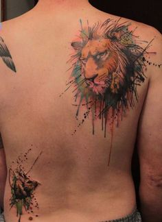 17 Watercolor lion tattoo