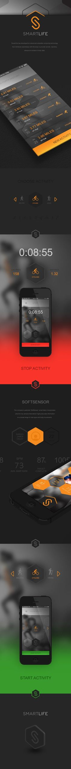 SmartLife Sports App by Samuel James Oxley, via Behance. If you like UX, design, or design thinking, check out theuxblog.com podcast https://itunes.apple.com/us/podcast/ux-blog-user-experience-design/id1127946001?mt=2
