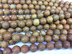 wood jasper faceted round beads  jasper semi precious stone