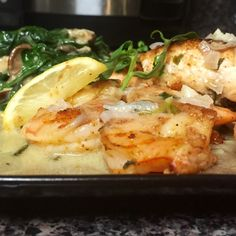 It's Your Turn To Cook Free Recipe Of The Month: Blackened Shrimp & Salmon with Lemon Tarragon Butter Sauce and Shiitake Creamed Spinach