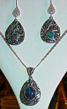 Genuine Black Opal Earrings & matching Pendant set by AmyKJewels #opalsaustralia