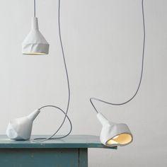 concrete light fixtures which emulate paper by Miriam Aust & Sebastian Amelung & DUA Concrete Light, Concrete Lamp, Concrete Design, Cement, Modern Lighting, Lighting Design, Lighting Ideas, Properties Of Concrete, Lite Brite