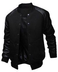 Slimming Trendy Stand Collar Large Pocket Color Splicing Long Sleeve Polyester Jacket For Men (BLACK,L) | Sammydress.com Mobile