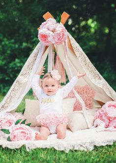 Pink and Gold Photography Tent || First Birthday Shoot || ONE || Pink Peonies || Lace Vintage Tent || Boston Child Photographer || Jennifer Prisco Photography
