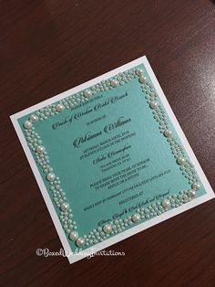 ✨✨✨Aqua, white and pearls!! Such a beautiful bridal shower invitation card!!✨✨✨✨✨✨✨✨✨✨✨✨✨✨ See more at www.boxedweddinginvitations.com ✨✨✨✨✨✨✨✨✨✨✨ #bride #aqua #robineggs #white #bridalshower #bridalshowerinvitation #invitation #invitationcard