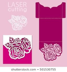 Die laser cut card template stock vector (royalty free) 1016772448 Vector die laser cut envelope template with rose flower. Vector die laser cut wedding ca. Wedding Card Templates, Wedding Cards, Wedding Lace, Lace Invitations, Invitation Mockup, Diamond Template, Cricut Cards, Card Patterns, Pop Up Cards