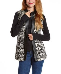 Another great find on #zulily! Black & White Zebra Vest #zulilyfinds