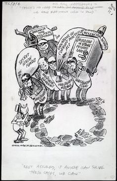"""Stars of Political Cartooning - Herb """"Herblock"""" Block his attacks on Nixon, where he basically did to Nixon what he did to McCarthy, as Nixon, like McCarthy, would credit Herblock's cartoons as creating a public image for Nixon that Nixon had to combat."""