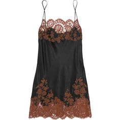 Carine Gilson Julia lace-trimmed silk-satin chemise, Black, Women's,... ($360) ❤ liked on Polyvore featuring intimates, chemises, dresses, lingerie, clothing -- lingerie, lace trim chemise, strappy lingerie, lingerie slips, chemise lingerie and lingerie chemise