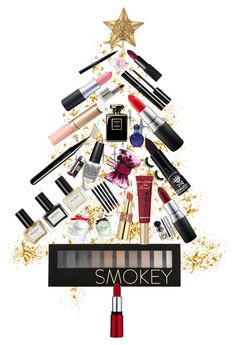 """Make Up Christmas Tree"" by swimmonster ❤ liked on Polyvore featuring beauty, DOMESTIC, Chanel, MAC Cosmetics, Victoria's Secret, Forever 21, Marc Jacobs, Manic Panic, By Terry and Too Faced Cosmetics"
