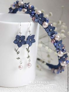 Hoop for hair … Polymer Clay Flowers, Polymer Clay Jewelry, Clay Earrings, Diy Headband, Headbands, Hair Jewelry, Fashion Jewelry, Jewelry Crafts, Handmade Jewelry