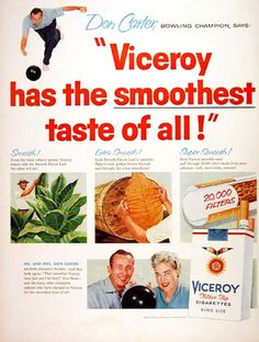1957 Viceroy Cigarettes original vintage advertisement. With endorsement by Mr. & Mrs. Don Carter, both professional bowling champions.