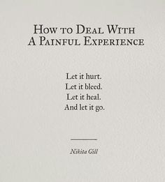 How to deal with a painful experience