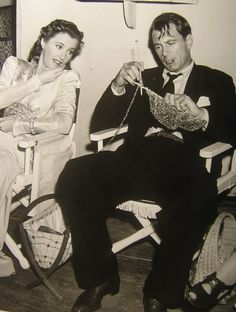 Barbara Stanwyck and Gary Cooper on the set of Meet John Doe (1941).