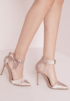 791ff6d3e6f Ankle Strap Bow Detail Court Shoes with a kelly green or black wrap dress  Blush Heels
