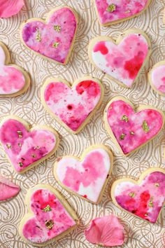 Watercolor Rose Sugar Cookiescountryliving Valentines Day Cookie Recipe, Valentines Day Treats, Valentine Cookies, My Funny Valentine, Cupcake Cookies, Sugar Cookies, Cookies Et Biscuits, Heart Cookies, Valentine Recipes