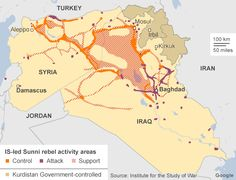 Map of IS (or ISIL, ISIS) controlled areas in Iraq and Syria as of early November 2014. From BBC