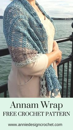 Annan Wrap Free Crochet Pattern – lacy easy crochet wrap, quick crochet shawl - Crochet Wraps and Shawls - Poncho Au Crochet, Crochet Wrap Pattern, Crochet Shawls And Wraps, Crochet Scarves, Crochet Clothes, Crochet Lace, Crochet Patterns, Crochet Jumper Free Pattern, Quick Crochet