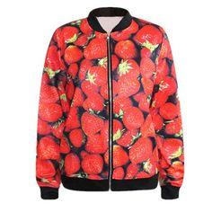 Free size strawberry baseball jacket for teens 3D fruit sweatshirts