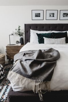 3 quick and easy ideas to update a master bedroom on a budget! Love the before and after of this DIY master bedroom makeover! Inexpensive ideas and cozy changes transform this small, shared space in less than 24 hours. Check out the entire video! Big Bedrooms, Master Bedroom Closet, Master Bedroom Makeover, Master Bedroom Design, Modern Bedroom, Bedroom Black, Bedroom Designs, Closet Designs, Trendy Bedroom