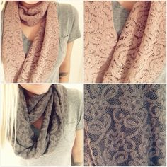 Lace infinity scarf. $25.00 at www.shop3sn.com #lace #infinityscarf #scarf #gift #handmade