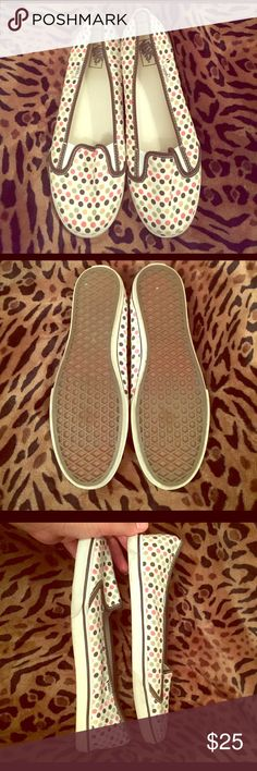 Vans Slip-on Shoes Excellent, very minor signs of wear. A little dirt on rubber, but they should clean up easily. Size 10 women's, 8.5 men's. Brown, sage green, mustard yellow, coral colored polka dots. Cushioned insoles, very comfy! Vans Shoes