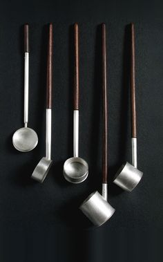 Chien Wei Chang / Silver-Plated Metal and Wood Ladles from the Ladle Series, 2004 Kitchen Utensils, Kitchen Gadgets, Kitchenware, Tableware, Objet D'art, Home And Deco, Messing, Wabi Sabi, Food Design