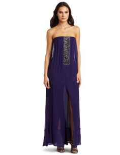 BCBGMAXAZRIA Women's Exene Strapless Center Beaded Dress, Persian Purple, 2 This loose strapless gown features jeweled embellishment at center front Sheer overlay Loose fit Strapless Dress Formal, Formal Dresses, Bcbgmaxazria Dresses, Bridal Sets, Special Occasion, Persian, Gowns, Contemporary, Purple