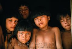 Upper Xingu Indian children, Matogrosso Region, Brazil