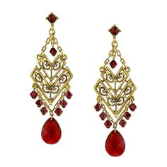 1928 T.R.U. Red Glass Gem Chandelier Chevron Earrings ($48) ❤ liked on Polyvore featuring jewelry, earrings, womens jewellery, chandelier earrings, chain earrings, red jewelry and beaded jewelry